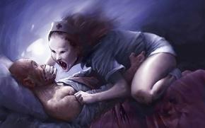 Картинка сон, мужик, Рисунок, постель, ведьма, медсестра, кошмар