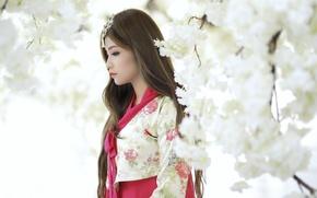 Картинка девушка, весна, сад, азиатка