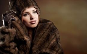 Обои одежда, зима, шапка, мех, кожа, девушка, шуба, перчатки