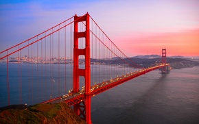 Картинка дорога, вода, закат, мост, город, огни, вечер, шоссе, Калифорния, залив, Сан-Франциско, Золотые Ворота, USA, США, …