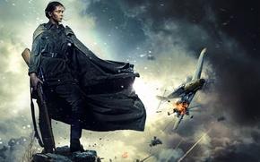 Картинка девушка, самолет, взрывы, форма, снайпер, боец, винтовка, постер, горит, в небе, Юлия Пересильд, Битва за …