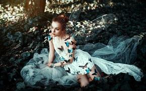 Обои платье, лицо, бабочки, фон, крылья, девушка, стиль