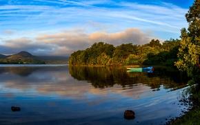 Картинка деревья, озеро, берег, лодка, Ирландия, Mayo