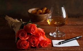Картинка лист, бокал, розы, ручка, красные, коньяк, курага