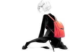 Картинка девушка, сидит, art, sawasawa, красный рюкзак