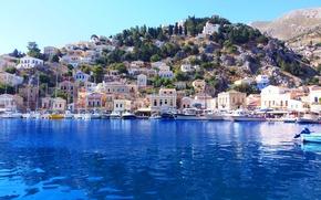 Картинка море, город, Греция, Greece, Symi