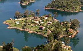 Картинка Природа, Дома, Озеро, Деревья, Тропики, Сверху, Laguna de Guatape, Medellin Columbia