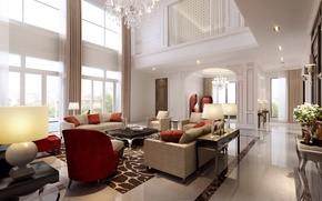 Картинка villa, luxury, white living room