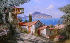Картинка цветы, красота, рай, крым, море, дерево, лето, гора, картина, радость, домики, живопись, Гурзуф, Милюков Александр, ...