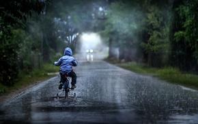 Картинка дорога, дождь, мальчик