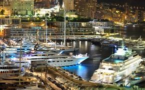 Картинка city, дома, яхты, вечер, порт, Monaco, night, Монако, Monte Carlo, Монте Карло, огни.