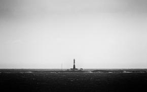 Картинка waves, storm, sea, wind, lighthouse, troubled sea