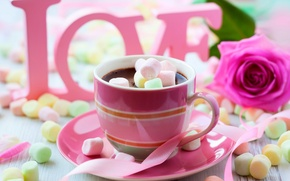 Картинка colorful, wallpaper, love, rose, flower, pink, cup, chocolate, sweet, Valentine's Day, drink, coffee, passion, sugar, ...