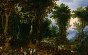 Картинка картина, мифология, Ян Брейгель старший, Лесной Пейзаж с Авраамом и Исааком