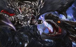 Картинка молнии, дракон, монстр, арт, битва