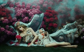 Картинка девушка, цветы, фата, Bella Kotak