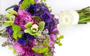 Картинка фото, Цветы, Букет, Сирень, Розы, Орхидеи, Гортензия, Анемоны