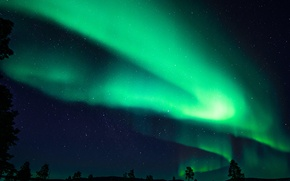 Обои небо, звезды, ночь, северное сияние, Финляндия