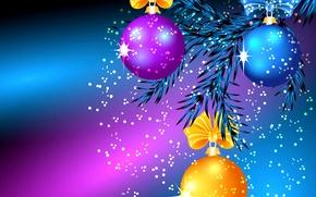 Обои шарики, свет, праздник, елка, рождество, ветка, бант