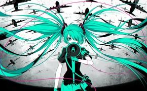Обои девушка, аниме, арт, самолеты, провод, vocaloid, hatsune miku, громкоговоритель, rimuu