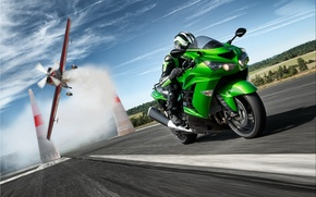 Картинка Kawasaki, zx, zx14, дорога, скорость, гонщик