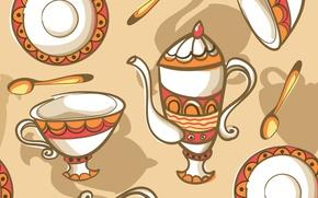 Картинка текстура, посуда, texture, tea set, dishes, чайный набор