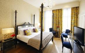 Обои комната, стиль, интерьер, квартира, кровать, дизайн