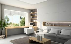 Картинка window, room, interior, home, sofa