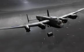 Картинка ночь, война, рисунок, дамба, операция, бомбордировщики, Lancaster, Dam Busters