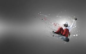 Картинка полет, прыжок, доска, сноубордист