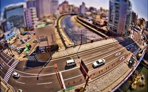 Обои креатив, мосты, улицы, дома, дорога, машины, city, roads, город, photos, bridges, creative