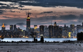 Обои HDR, небоскребы, Нью-Йорк, здания