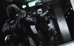Картинка рендеринг, оружие, солдаты, battlefield, metro