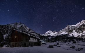 Обои зима, небо, звезды, свет, снег, Болгария, горы Рила, Мальовица шале, Мальовица