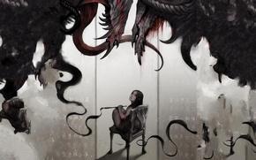 Картинка взгляд, страх, стул, лента, иероглифы, чудовище, девачка