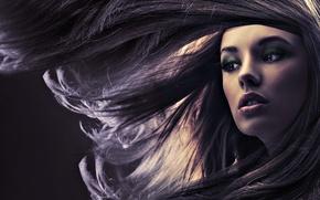 Обои макияж, ветер, лицо, девушка, волосы