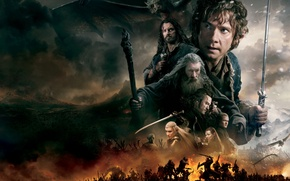 Обои Orlando Bloom, Gandalf, Thorin, битва, дым, Legolas, меч, эльфы, волшебник, Ричард Армитедж, огонь, Tauriel, орки, ...
