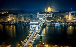 Картинка дорога, ночь, город, река, здания, дома, выдержка, освещение, архитектура, Венгрия, Будапешт, Дунай, Budapest, Цепной мост …