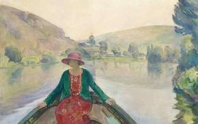 Картинка пейзаж, река, женщина, лодка, картина, Сена, жанровая, Анри Лебаск, Woman in the Boat at the …