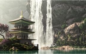 Обои 3DLandscapeArtist, водопад, пагода, горы, цветущее дерево, вода