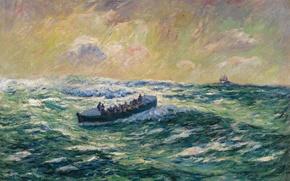 Картинка картина, шторм, лодка, Finistere, море, волны, катер, Rescue Boat at Audierne, морской пейзаж, Анри Море
