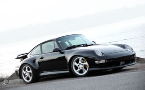 Картинка чёрный, turbo, порше, гравий, Porsche 911