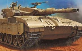 Картинка war, art, painting, tank, MERKAVA MK.III