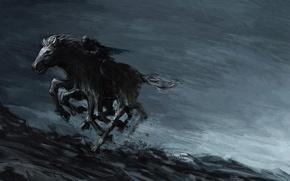 Картинка скалы, конь, ноги, монстр, арт, бег, всадник, мрачно, Ásgeir Jón Ásgeirsson