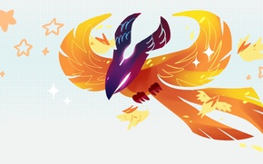 Картинка птица, минимализм, звёзды, арт, феникс, chibi, Dota 2, Phoenix