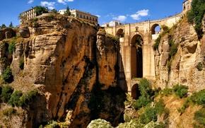Картинка небо, горы, мост, скалы, дома, арка, ущелье, испания, Spain, акведук, Andalusia, Ronda