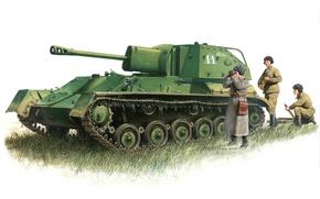 Картинка рисунок, арт, установка, легкая, артиллерийская, САУ, советская, WW2., СУ-76, самоходно, применявшаяся, Великой Отечественной войне