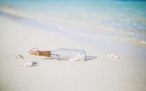 Картинка песок, берег, бутылка