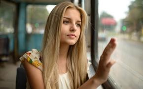 Картинка девушка, лицо, отражение, транспорт, милая, портрет, майка, блондинка, трамвай, красивая, прелесть, салон, young, голубоглазая, mood, ...