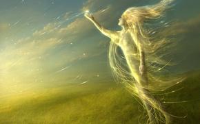 Картинка девушка, свечение, Трава